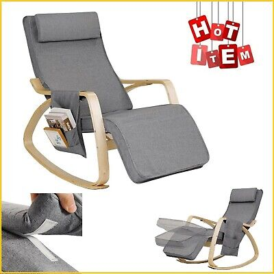 Indoor Rocking Chair Cushioned Armchair Lounge Chairs Leisure Relax Rocker Gray ()