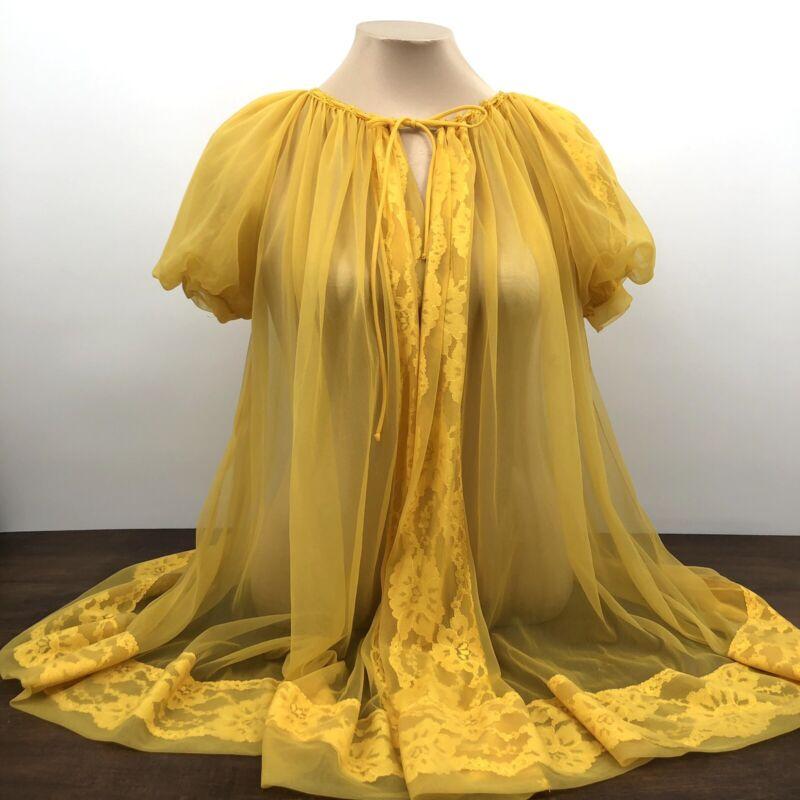 Vintage 1960s Gaymode Chiffon Robe Nylon Puffer Sleeve Lace Peignoir Size Medium