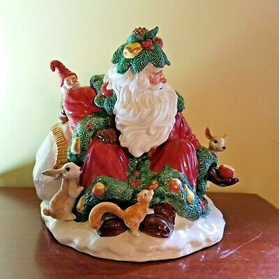 Fitz and Floyd Woodland Santa Cookie Jar Collectors Series 1991 Limited Edition