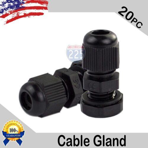 20 Pcs PG7 Black Nylon Waterproof Cable Gland 3-6.5mm Dia. w/ Lock-Nut & Gasket