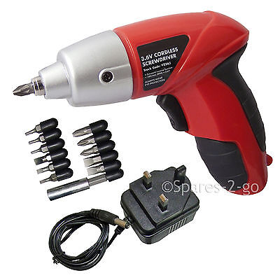 Rechargeable Cordless Electric Screwdriver Power Tool w/ Bits & Charger