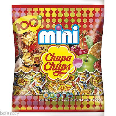 Mini Chupa Chups busta 100 pezzi lecca lecca in 5 gusti assortiti lollipop