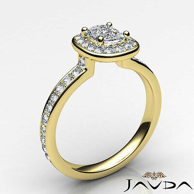 Cushion Diamond Engagement GIA G VS2 Halo Pave Set Ring 18k White Gold 0.87Ct 8