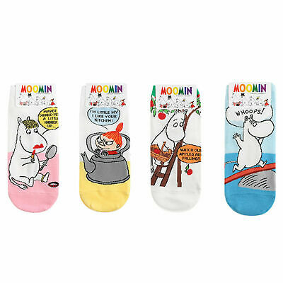 Moomin Socks 4 Pairs set Ankle Socks Cute Cartoon Character Socks White Socks