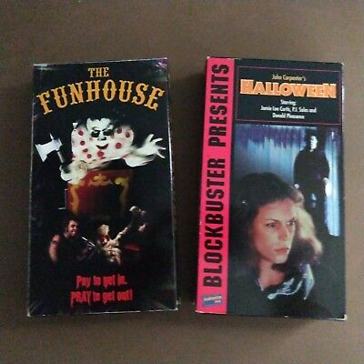 Scary Horror Movie Halloween & The Funhouse VHS Tapes Haunted House Backdrop - Halloween Haunts Movie