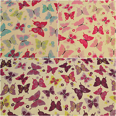 Flutterby Butterflies 100% Cotton Fabric Craft & Dress Material