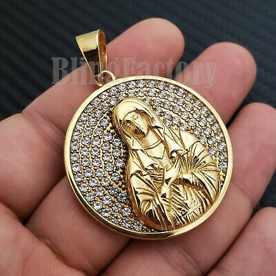 Iced out Stainless steel Gold Tone Blessed Virgin Mary Medal Charm Pendant ()