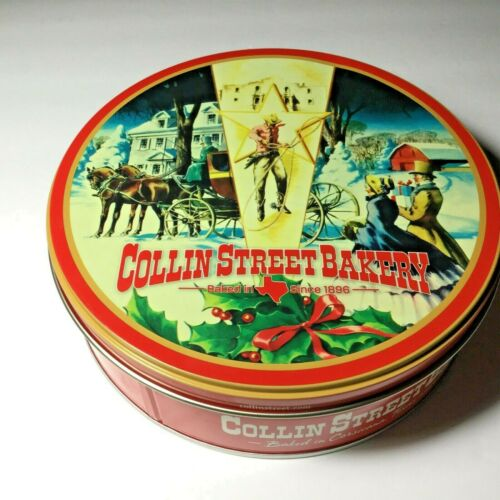 "DeLuxe Fruit Cake Round 10"" Tin Lid Christmas Cowboy Holiday Horse Snow"