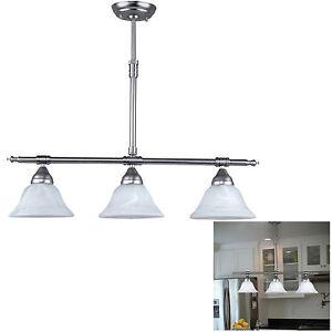 Brushed Nickel Kitchen Island Pendant Light Fixture Dining, 3 Globe Bar Lighting