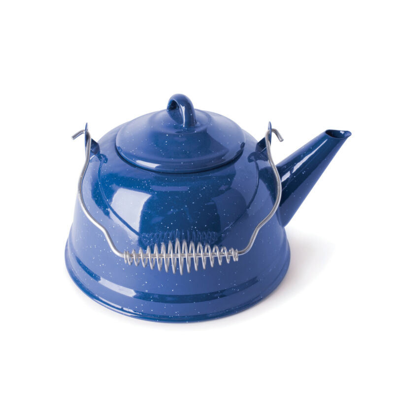 STANSPORT 10955 ENAMEL TEA KETTLE 2.6 QT STAINLESS STEEL CAMPING COOKING NEW