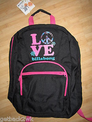 Billabong Girls Handbag (NEW* Billabong HANDBAG BAG TOTE STUDENT BACKPACK Black Pink Billie)