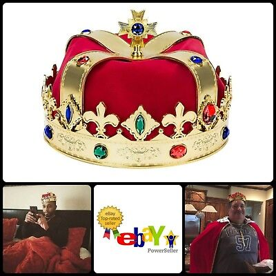 Kings Jeweled Crown With Red Liner Gold Deluxe Hat Kids Adults Prince Costumes