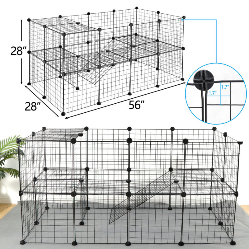 56 Inch 36 Panels Two-Storey Fence Kennel Dog Playpen Pet Play Pen Exercise Cage