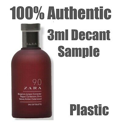 Mens 9.0 by ZARA EDT 3ml Plastic Decant Sample Trial Travel Size