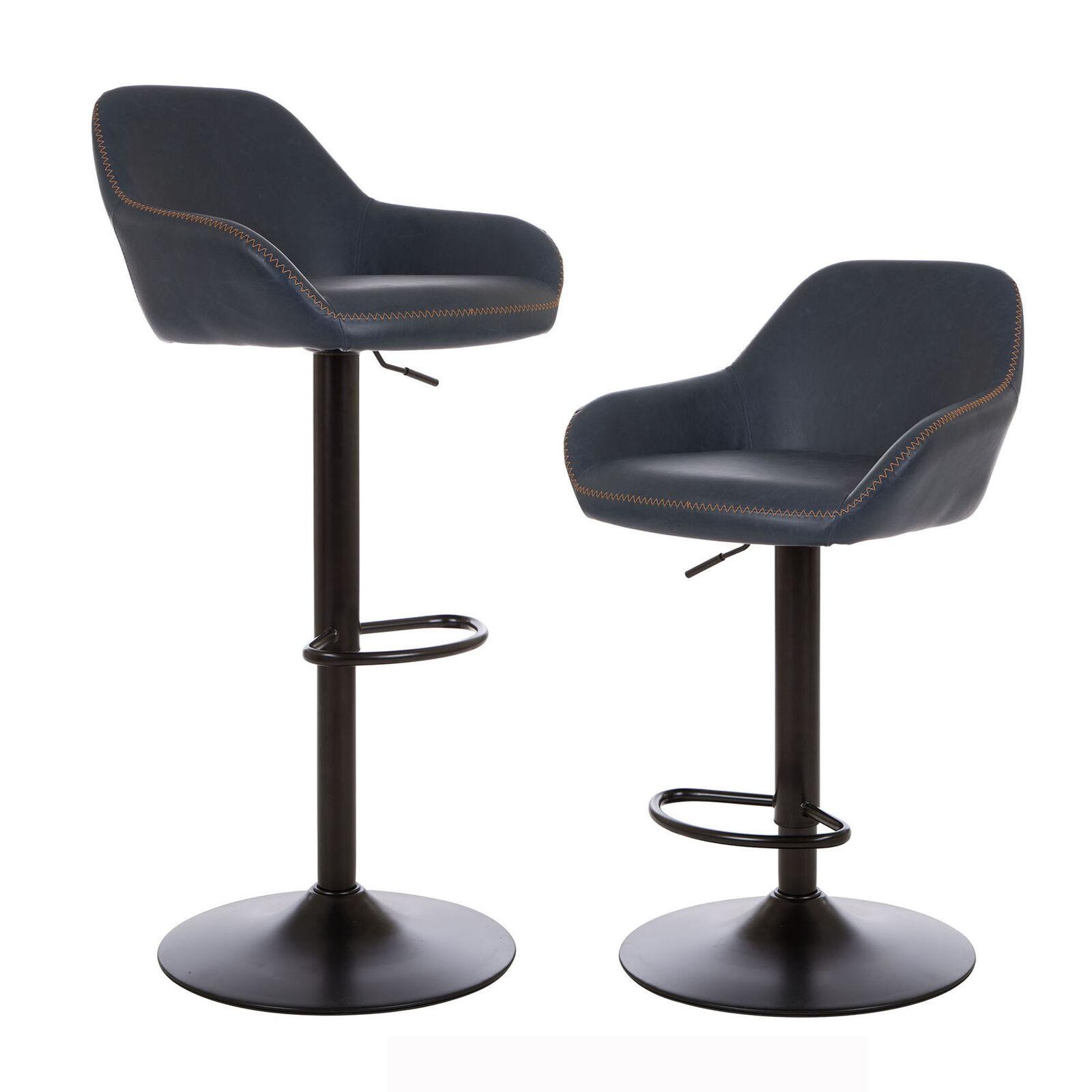 Stupendous Details About Glitzhome Industrial Pu Leather Swivel Bar Stools Navy Blue Metal Chair Set Of 2 Inzonedesignstudio Interior Chair Design Inzonedesignstudiocom