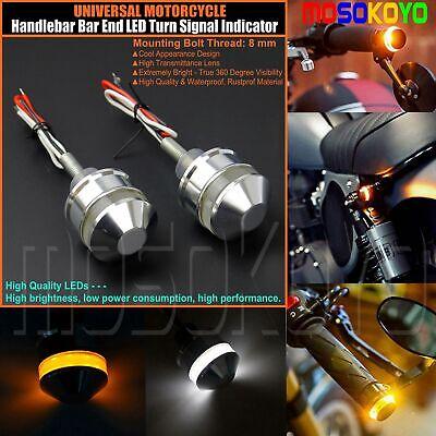 Motorcycle Silver Handlebar LED Turn Signal Light Bar End Side Marker Indicators