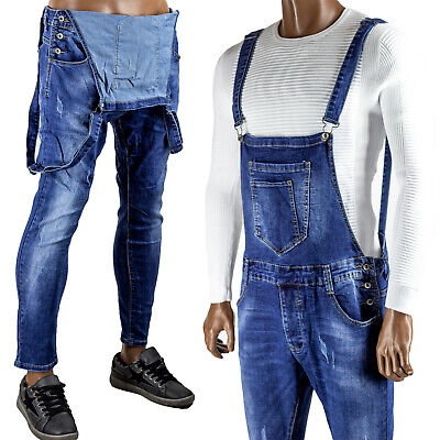 Salopette Uomo Pantaloni Slim Elasticizzati Jeans Comoda Aderenti Segni Morbida