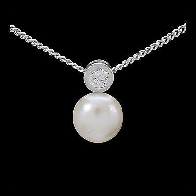 Perlen SET Silber 925 Kette u. Anhänger SwZp Zuchtperlen Zirkonia Weiß Halskette