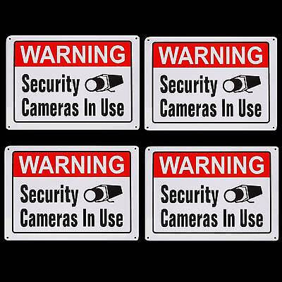 Metal Sign Home Security Cameras System In Use Warning Yard No Trespassing Signs