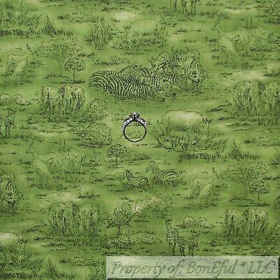 BonEful FABRIC Cotton Quilt Green Grass African Animal Jungle Safari Zebra SCRAP for sale  Richland