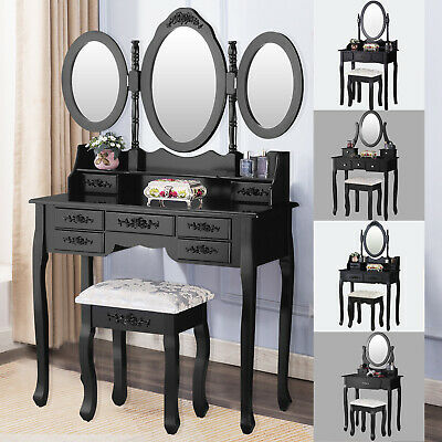 Vanity Makeup Table Dressing Table Set Desk w/ Mirrors & Stool & Drawer Black