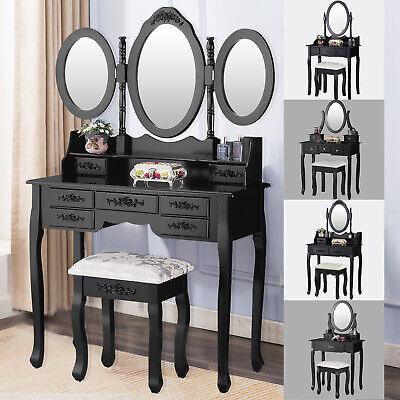Vanity Makeup Table Dressing Table Set Desk w/ Mirrors & Stool & Drawer Black ()