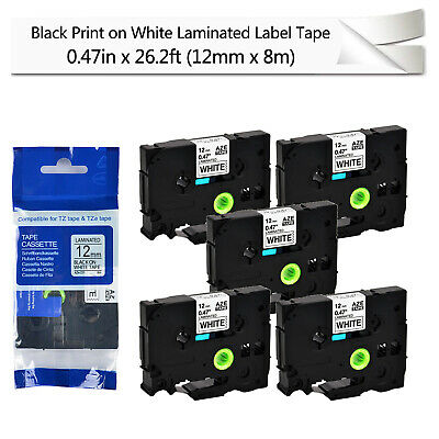 5pk Black On White Label Tape For Brother Tze-231 Tz-231 P-touch Pt-1100 0.47