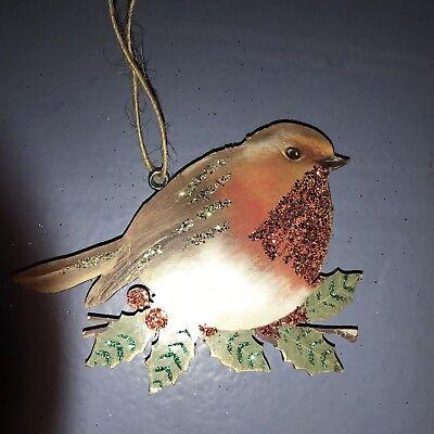 Gisela Graham Red Robin Christmas Tree Decoration Hanging Vintage Style