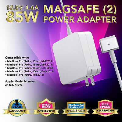 """85W AC Adapter Charger Power Supply for Apple MacBook Pro 15"""" Retina A1398 A1424"""