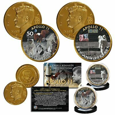 Apollo 11 50th Anniversary 1st Man on Moon JFK 100 BDAY 24K Gold Clad 2-Coin Set (50th Bday)