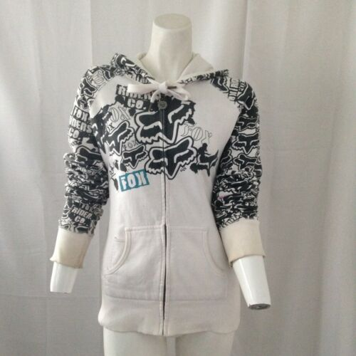 Fox Girls All Over Black and White Graphic Hoodie Sweat Jacket Hoodie Large