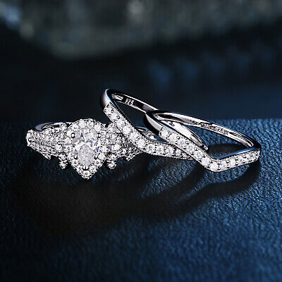 Wedding Engagement Ring Set Women 3pcs 1.4Ct Pear Cz 925 Sterling Silver Sz 5-10
