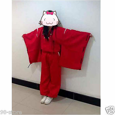 INUYASHA Bright Red Kimono Costume Halloween Cosplay Uniform