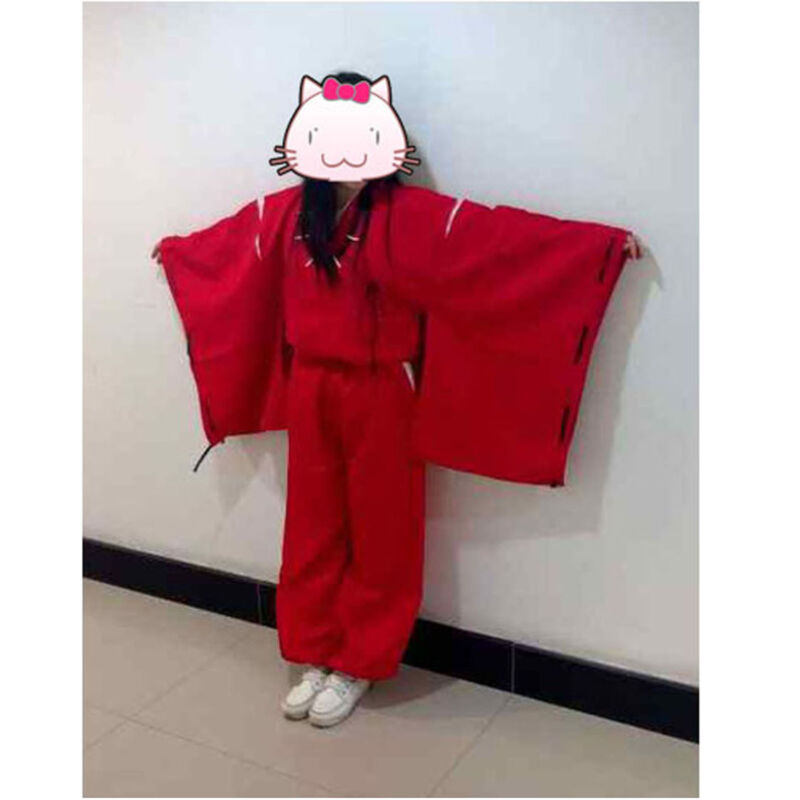 INUYASHA Bright Red Kimono Costume Halloween Cosplay Uniform