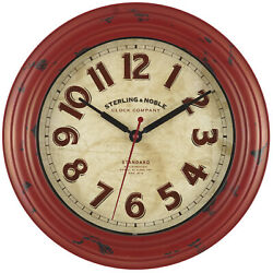 Red Distressed Art Deco 12 Round Wall Clock Arabic Numerals Modern Rustic-NEW