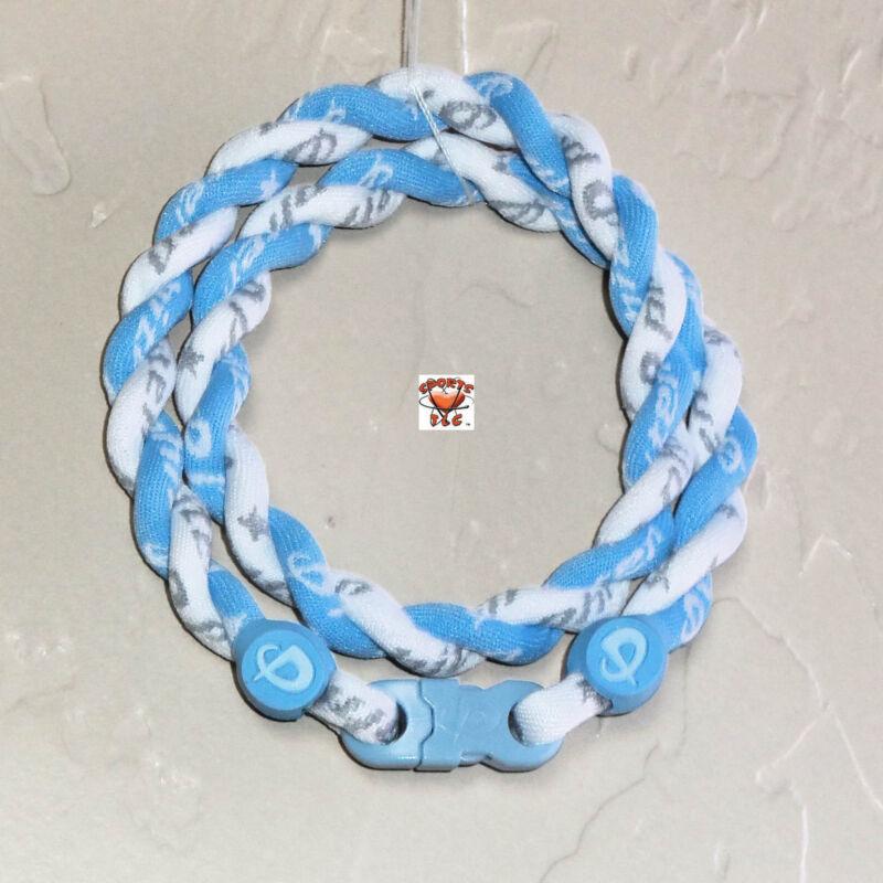 Phiten Tornado Necklace: Carolina Blue with White