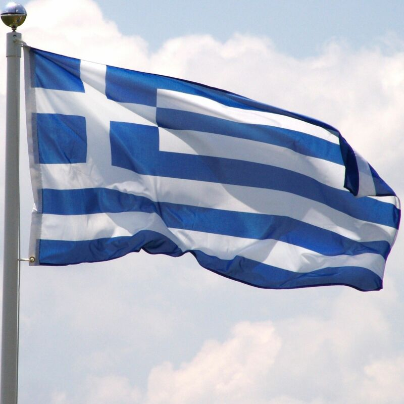 GREECE GREEK NATIONAL LARGE 5 x 3FT FANS SUPPORTERS FLAG PREMIUM QUALITY EYELET