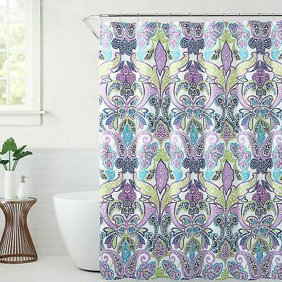Blue Butterfly Designs (Fabric Shower Curtain: Blue Purple Bright Paisley Leaf  Design)