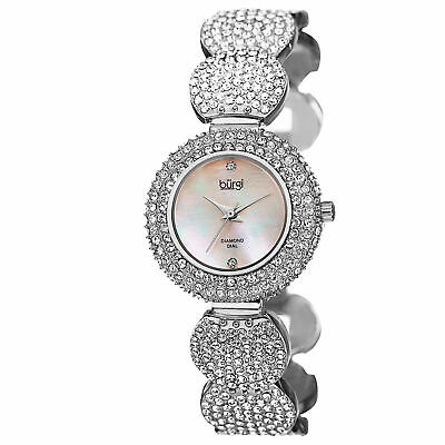 New Women's Burgi BUR109SS Swiss Quartz MOP Diamond Dial Bracelet Watch