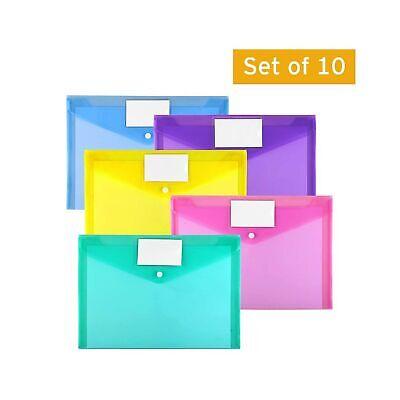 Plastic Envelopes Poly Envelopes, Sooez 10 Pack Clear Document Folders US Let...