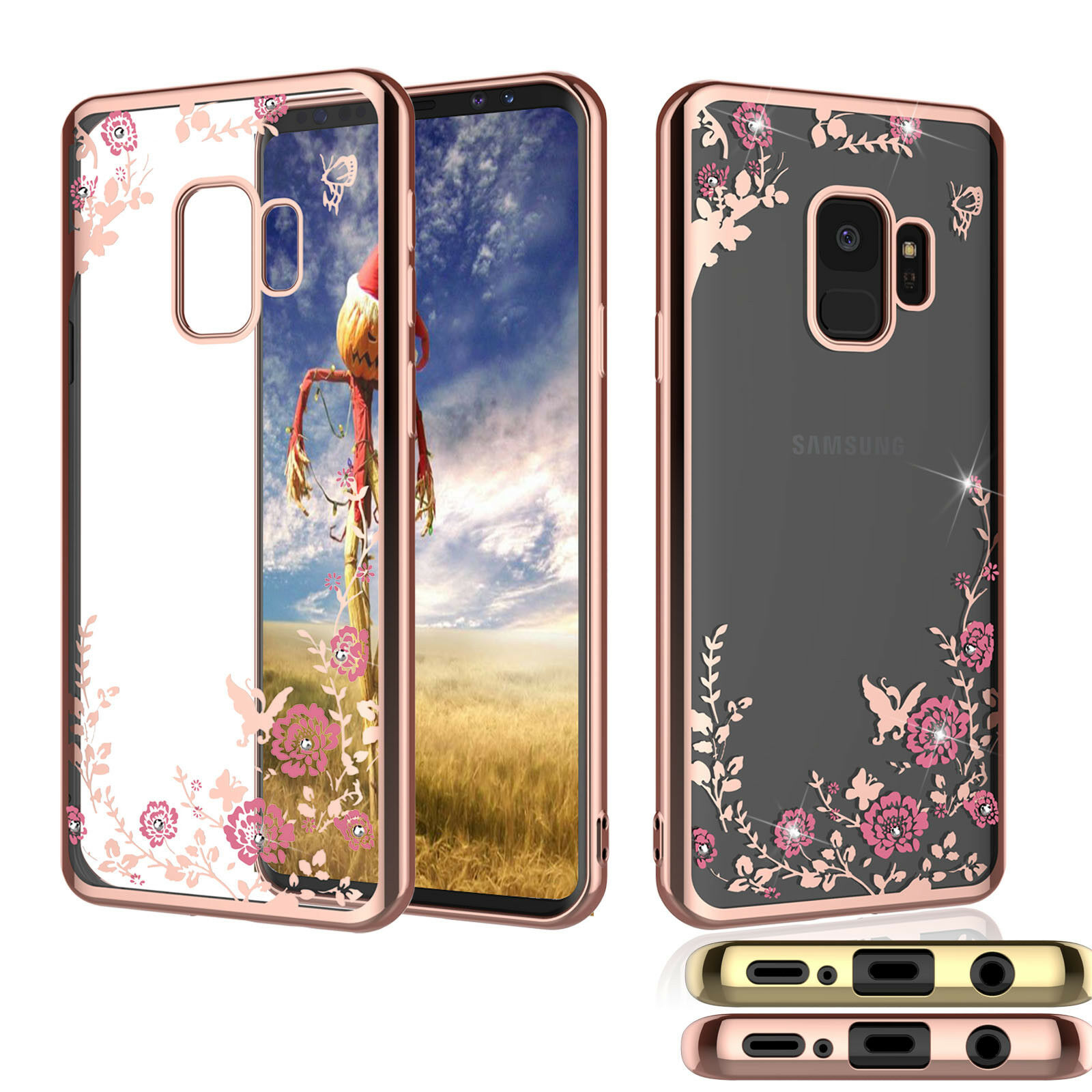 For Samsung Galaxy S9 / S9 Plus + Phone Case Crystal Bling Flower Clear Cover Cases, Covers & Skins