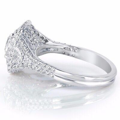 GIA Certified 2.17Ct VVS1 Cushion Cut Trapezoid Side Diamond Engagement Ring 18k 1