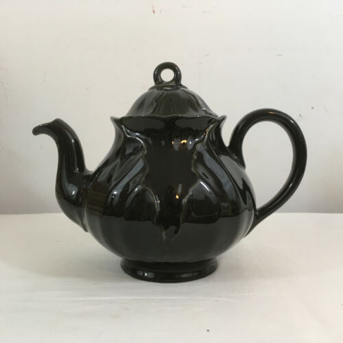 Vintage Metlox California Pottery Black LOTUS Teapot