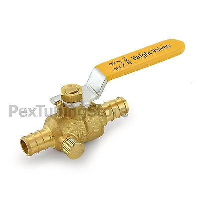 12 Pex Crimp Style Shut-off Brass Ball Valve W Drain Outlet Full Port