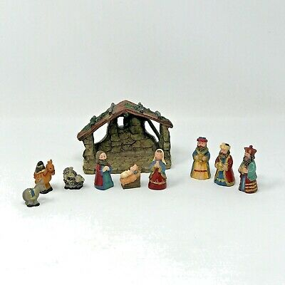 10 Piece Small Size Nativity Set with Stable Holy Family Wisemen and Animals