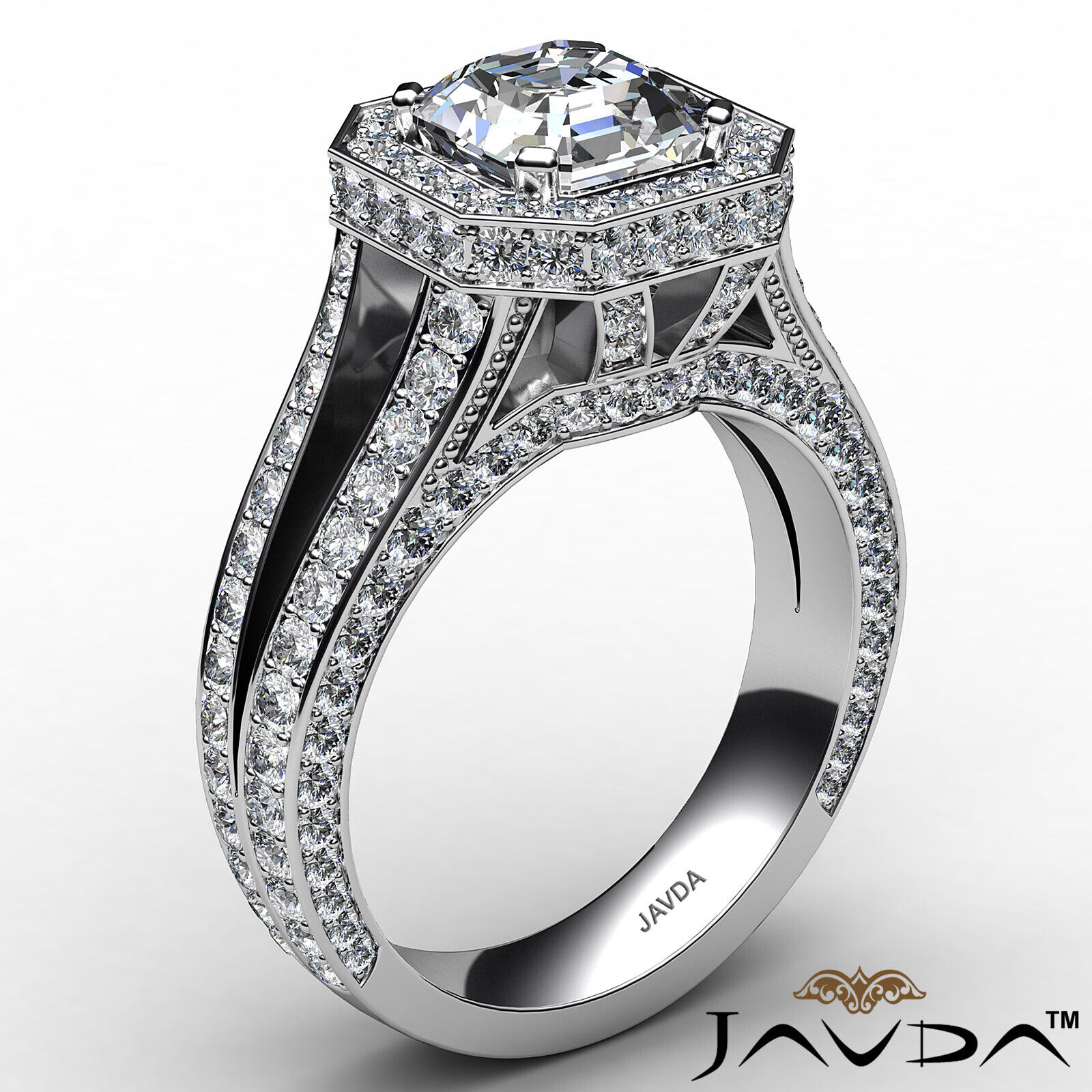 Halo Asscher Diamond Engagement Ring GIA Certified G Color & SI2 clarity 2.4 ctw 3