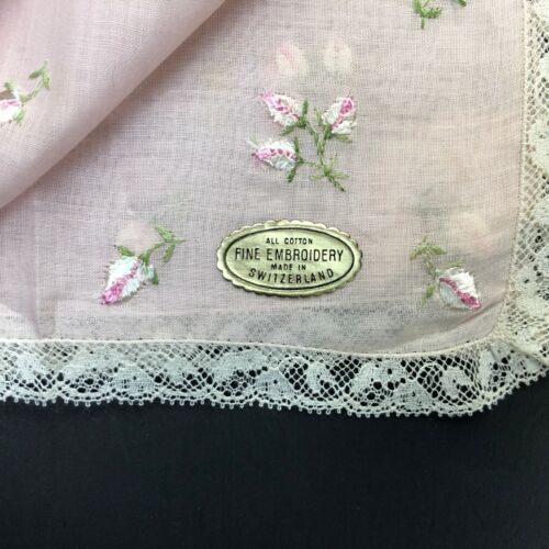 Vintage Embroidered Pink Switzerland Lace Handkerchief Hanky Hankie Flower