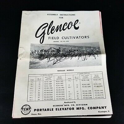Assembly Instructions For Glencoe Field Cultivators Model Fc 75-105 Vintage