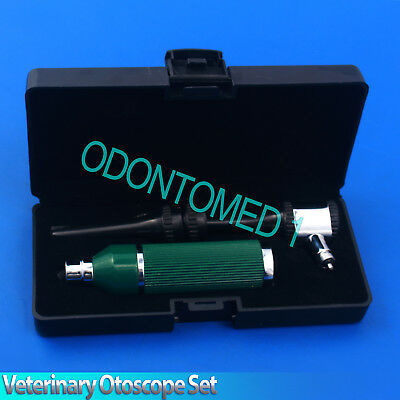 Veterinary Otoscope Set Animal Green Color Diagnostic Instruments