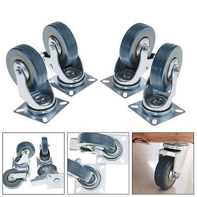 4x 75mm Pu Swivel Castor Wheels Trolley Furniture Caster Rubber Heavy Duty